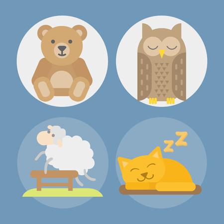 Sleep animals icon vector illustration gift toy teddy bear sleeping owl cat set. Illustration