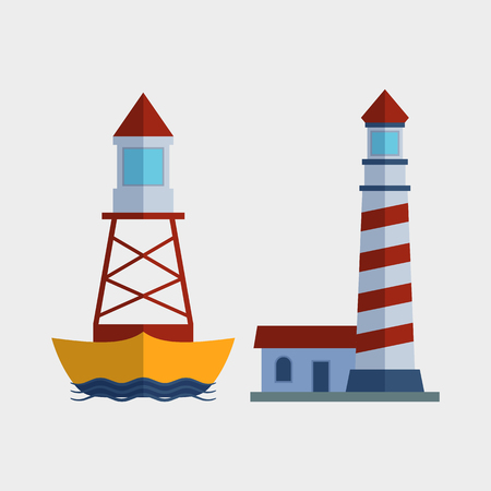 Cartoon flat lighthouse searchlight tower for maritime navigation guidance light vector illustration.