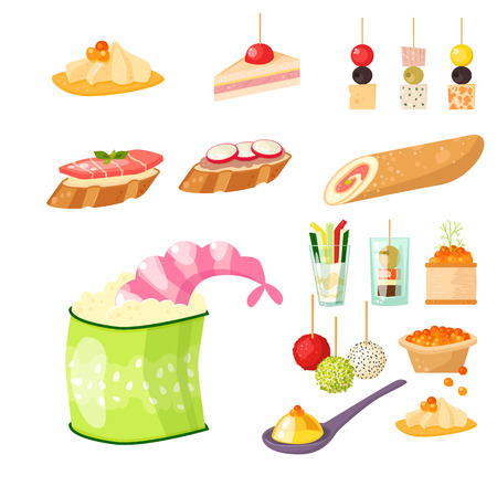 Various meat canape snacks appetizer fish and cheese banquet snacks on platter vector illustration. Zdjęcie Seryjne - 75103418