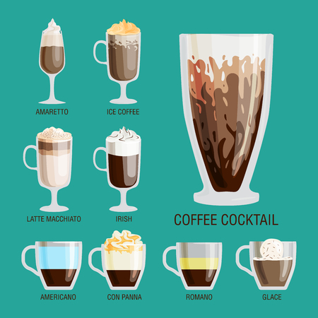 glace: Set of different transparent cups of coffee types mug with foam beverage and breakfast morning sign tasty aromatic glass assortment vector illustration.