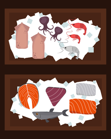 Seafood flat tasty cooking delicious can be used for layout advertising and fresh shrimp shellfish web design gourmet restaurant meal vector illustration.