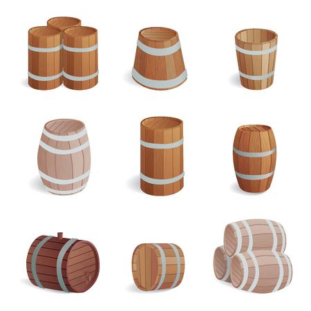 Houten vat vintage oude stijl eiken opslag container en bruine geïsoleerde retro vloeibare drank voorwerp fermenteren distilleerderij lading drum lager vector illustratie.