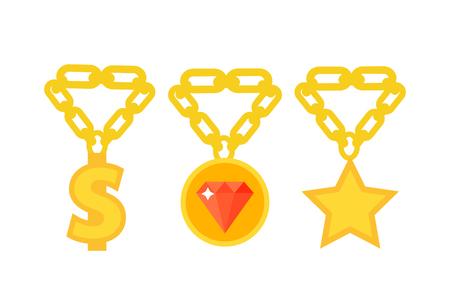 Gold necklace decoration treasure luxury fashion gem precious royalty jewelery chain vector illustration. Ilustração