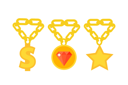 Gold necklace decoration treasure luxury fashion gem precious royalty jewelery chain vector illustration. Illustration