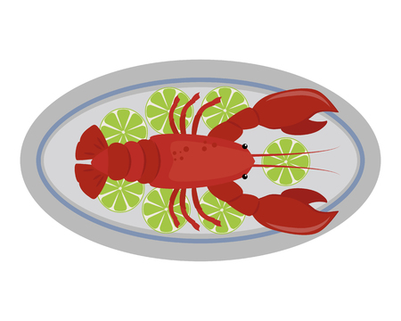 Lobster vector flat illustration fresh seafood icon claw meal and gourmet crustacean cooked dinner marine fish delicious ocean shell animal on plate. Illustration