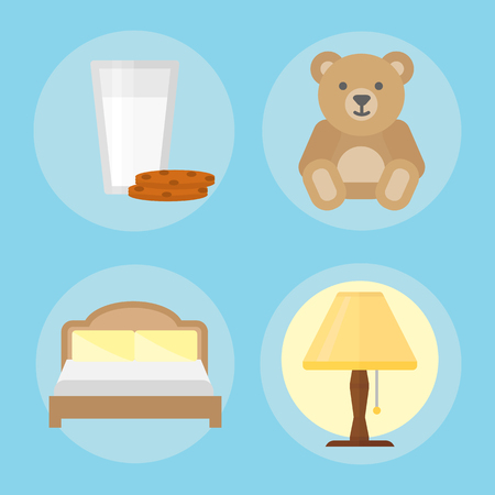 Sleep icons vector illustration set collection nap icon milk relax bedtime lamp bed bear cookies set