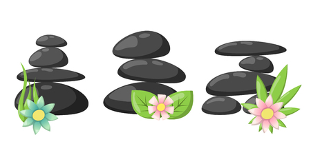 alternative rock: Pyramid from sea pebble relax heap stones isolated and healthy wellness black massage meditation natural tool spa balance therapy zen vector illustration.
