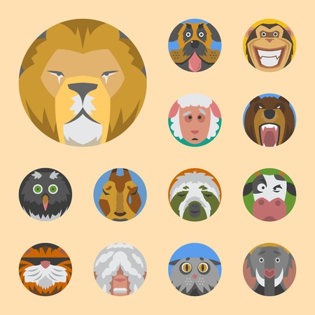 Cute animals emotions icons isolated fun set face happy character emoji comic adorable pet and expression smile collection wild avatar vector illustration.