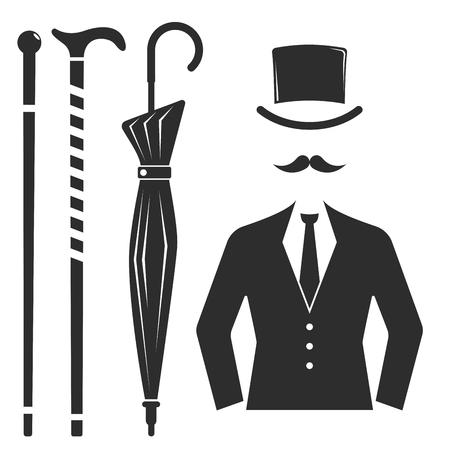 people: Vintage style design hipster gentleman vector illustration black silhouette design mustache element.