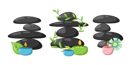 group therapy: Pyramid from sea pebble relax heap stones isolated and healthy wellness black massage meditation natural tool spa balance therapy zen vector illustration.