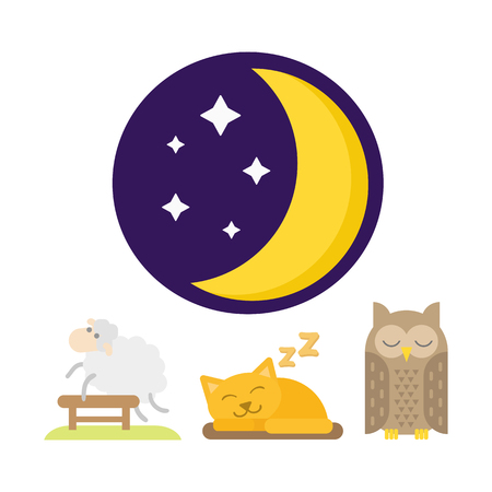 Sleep animals icon vector illustration gift toy sleeping owl cat set