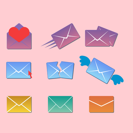 Email envelope cover icons communication and office correspondence blank cover address design paper empty card