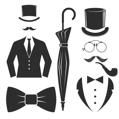 Vintage style design hipster gentleman vector illustration black silhouette design mustache element.