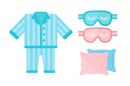 Slaap pyjama's pictogram vector illustratie bed teken symbool geïsoleerde droom slaapkamer bedtijd pyjama's kussen blinddoek