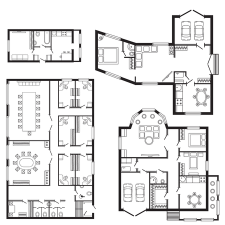 reconstruction: Modern office architectural plan interior furniture and construction design drawing project