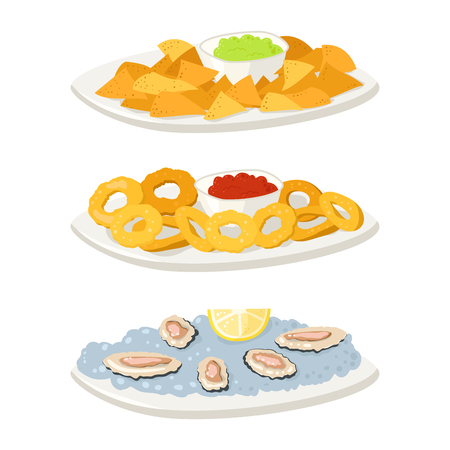 Various oysters meat canape snacks appetizer chips and banquet snacks on platter vector illustration.