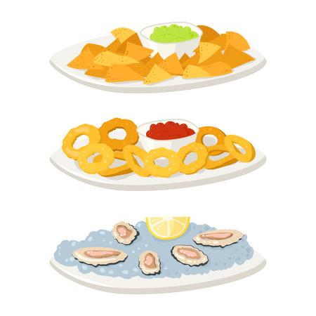 Verschillende oesters vlees canape snacks voorgerecht chips en banket snacks op schotel vectorillustratie.