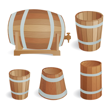 ferment: Wooden barrel vintage old style oak storage container and brown isolated retro liquid beverage object fermenting distillery cargo drum lager vector illustration.