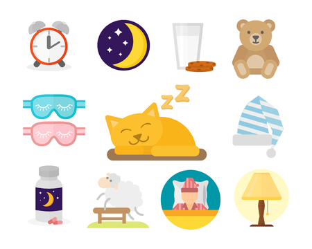 sleeping pills: Sleep icons vector illustration set collection nap icon moon relax bedtime night bed isolated on white background Illustration