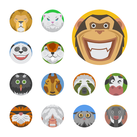 elephant angry: Cute animals emotions icons isolated fun set face happy character emoji comic adorable pet and expression smile collection wild avatar vector illustration.