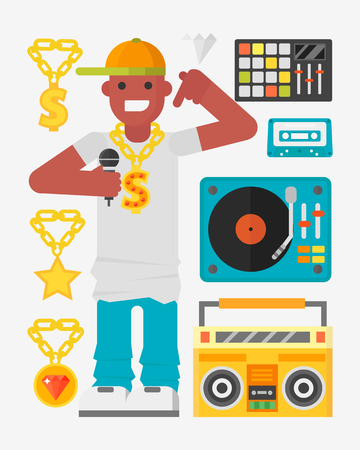 1ba6b9a309a Hip hop character musician with microphone breakdance expressive rap  portrait vector illustration.