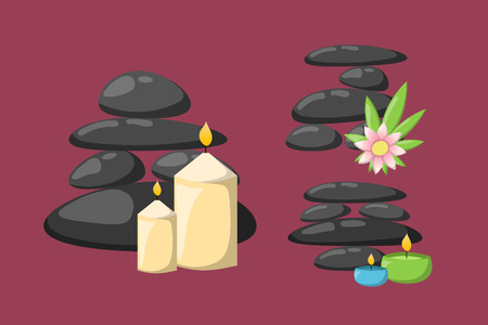 Pyramid from sea pebble relax heap stones isolated and healthy wellness black massage meditation natural tool spa balance therapy zen vector illustration.