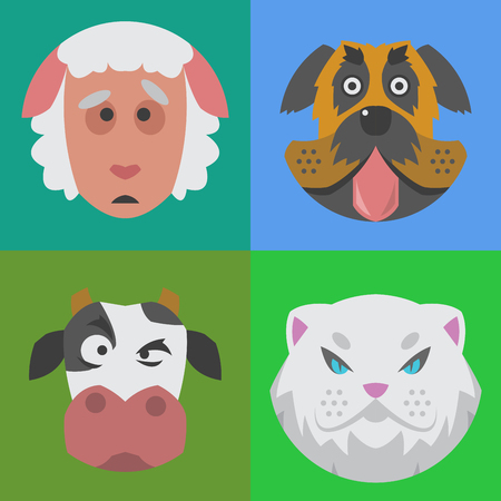 cute dog: Cute animals emotions icons isolated fun set face happy character emoji comic adorable pet and expression smile collection wild avatar vector illustration.