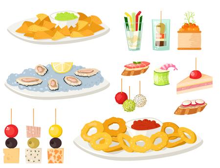 Divers snacks au canapé à la viande amuse-gueules de plat de poisson et de fromage à plat sur plat. Vecteurs