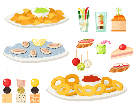 Various meat canape snacks appetizer fish and cheese banquet snacks on platter vector illustration.