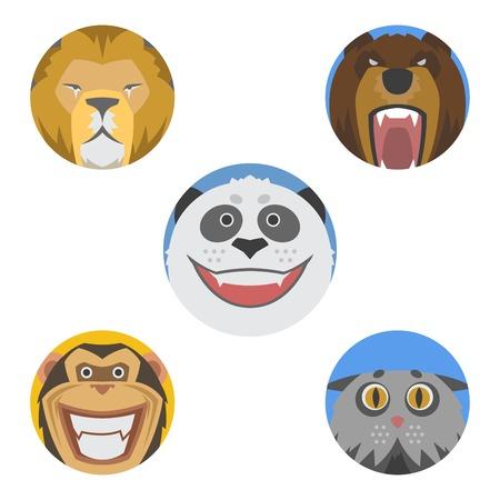 Cute animales emociones iconos aislados diversión conjunto cara feliz carácter emoji cómico adorable mascota y expresión sonrisa colección wild avatar vector illustration. Foto de archivo - 75868550