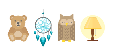 Sleep icons vector illustration set collection nap icon relax bedtime lamp owl bear isolated dream catcher Illustration