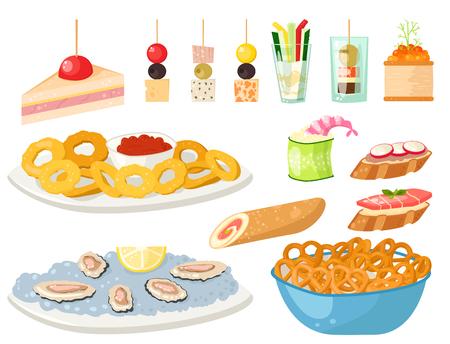 様々 な肉のカナッペ添えスナック前菜魚とチーズ盛り合わせベクトル図で軽食を宴会します。  イラスト・ベクター素材