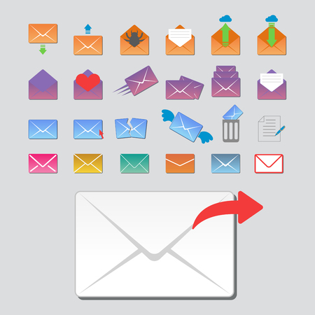 Email envelope cover icons communication and office correspondence blank cover address design paper empty card business writing message vector illustration. Çizim
