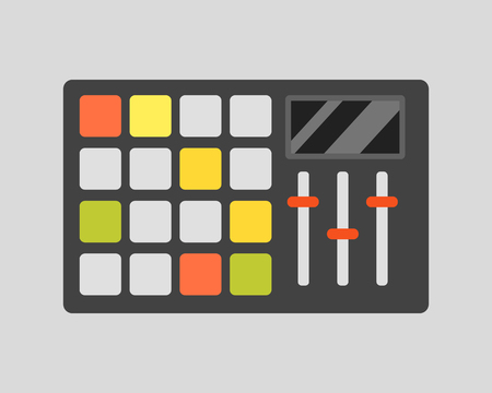 overdrive: Creative modern musical instrument concept midi launchpad equipment vector illustration.