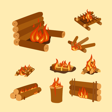 Isolated illustration of campfire logs burning bonfire and firewood stack vector.