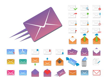Email envelope cover icons communication and office correspondence blank cover address design paper empty card business.