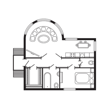 architect drawing: Modern office architectural plan interior furniture and construction design drawing project