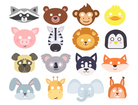 Animals carnival mask vector set festival decoration masquerade and party costume cute cartoon head decor isolated celebration vector illustration.