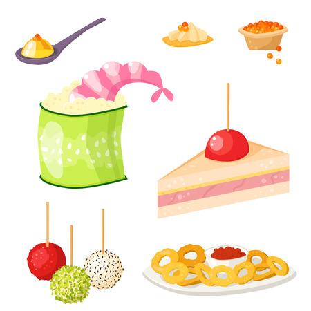 Diverse vlees canape snacks voorgerecht vis en kaas banket snacks op schotel vector illustratie.