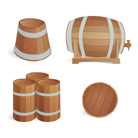 Wooden barrel vintage old style oak storage container and brown isolated retro liquid beverage object fermenting distillery cargo drum lager Illustration