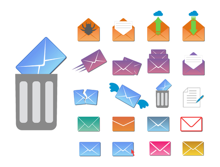 Email envelope cover icons communication and office correspondence blank cover address design paper empty card business writing message