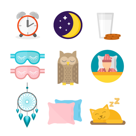Sleep icons illustration set collection nap icon moon relax bedtime night bed