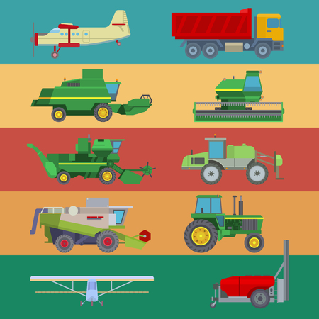 Agriculture industrial farm equipment machinery tractor combine harvesting wheel vector illustration.