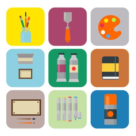 絵画アート ツール パレット アイコン フラット ベクトル図詳細文房具創造的な塗装機器を設定します。  イラスト・ベクター素材