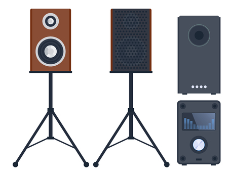 surround system: Home sound system stereo flat vector music loudspeakers player subwoofer equipment technology.