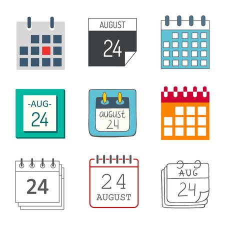 Vector kalender web pictogrammen office organisator zakelijke grafische papier plan afspraak en pictogram herinnering element voor gebeurtenis vergadering of deadline illustratie. Stock Illustratie