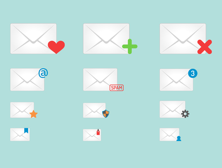 contact info: Email envelope cover icons communication and office correspondence blank cover address design paper empty card business writing message vector illustration. Illustration