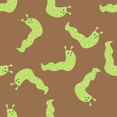 庭の野生動物のカタツムリのシームレスなパターン楽しい無脊椎動物害虫スパイラルぬるぬる自然腹足類動物のベクトル。
