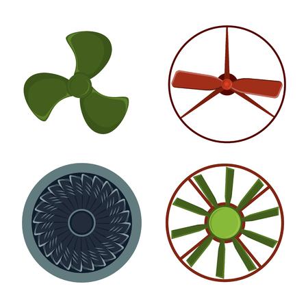 airflow: Propeller fan vector wind ventilator equipment air blower cooler rotation technology power circle.