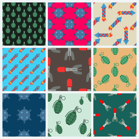 Bomb and rockets vector set seamless pattern background Illustration